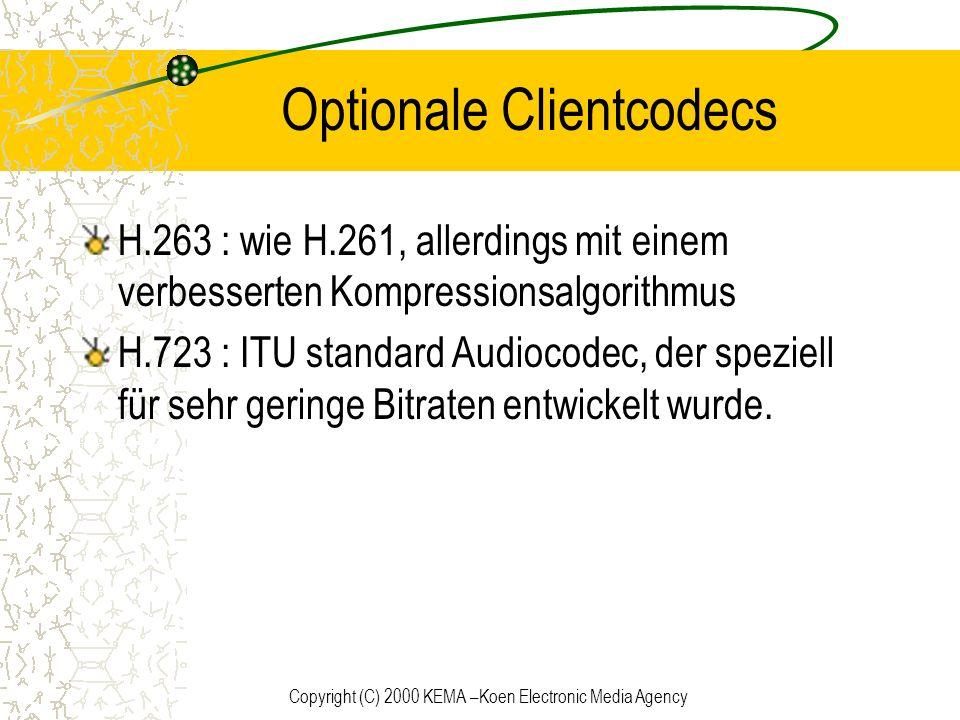 Copyright (C) 2000 KEMA –Koen Electronic Media Agency Optionale Clientcodecs H.263 : wie H.261, allerdings mit einem verbesserten Kompressionsalgorith