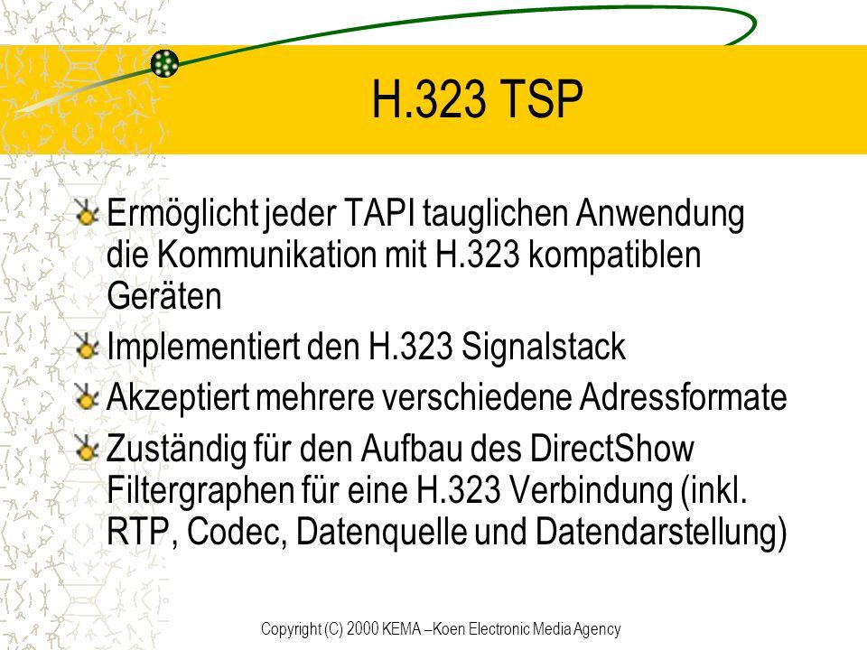 Copyright (C) 2000 KEMA –Koen Electronic Media Agency H.323 TSP Ermöglicht jeder TAPI tauglichen Anwendung die Kommunikation mit H.323 kompatiblen Ger