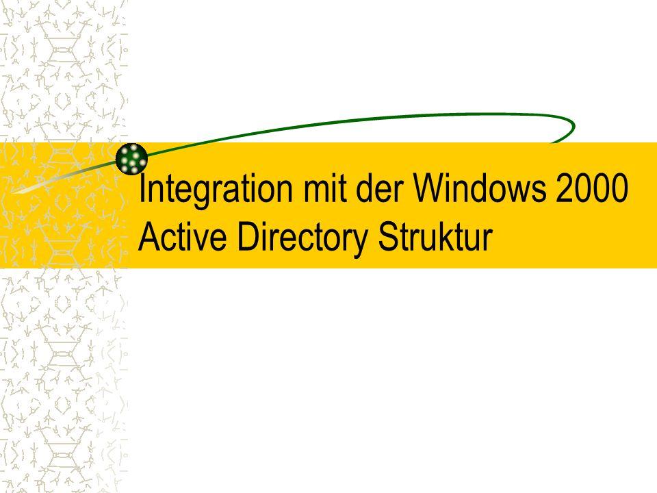 Integration mit der Windows 2000 Active Directory Struktur