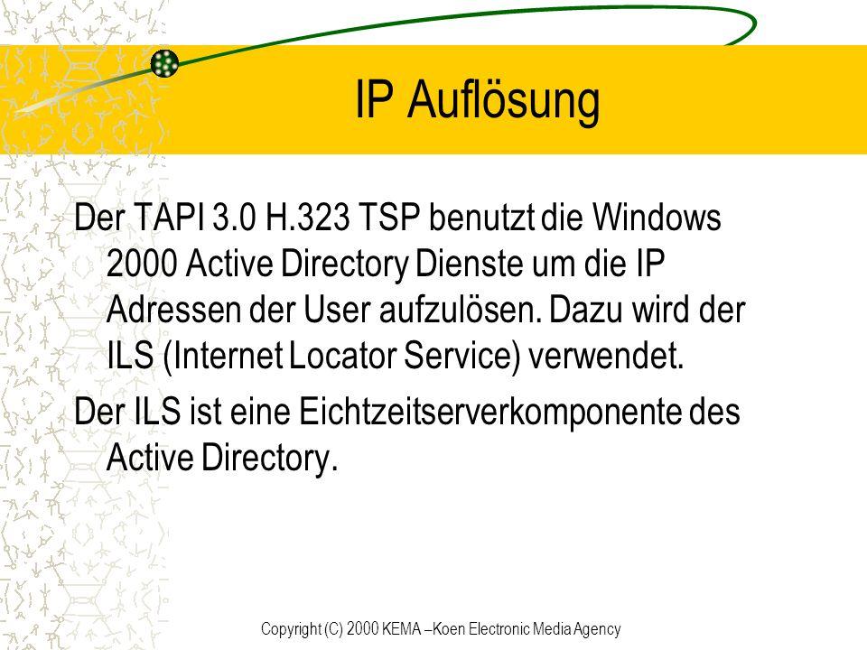 Copyright (C) 2000 KEMA –Koen Electronic Media Agency IP Auflösung Der TAPI 3.0 H.323 TSP benutzt die Windows 2000 Active Directory Dienste um die IP