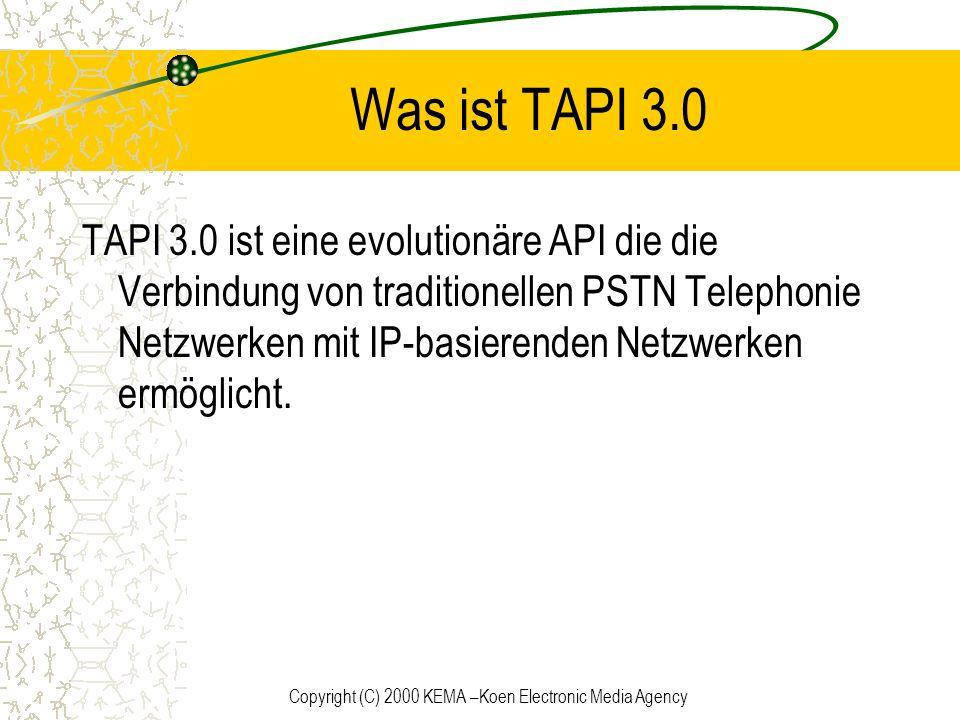 Copyright (C) 2000 KEMA –Koen Electronic Media Agency IP Auflösung Der TAPI 3.0 H.323 TSP benutzt die Windows 2000 Active Directory Dienste um die IP Adressen der User aufzulösen.