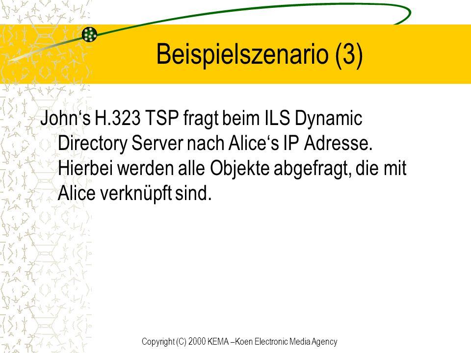 Copyright (C) 2000 KEMA –Koen Electronic Media Agency Beispielszenario (3) Johns H.323 TSP fragt beim ILS Dynamic Directory Server nach Alices IP Adre