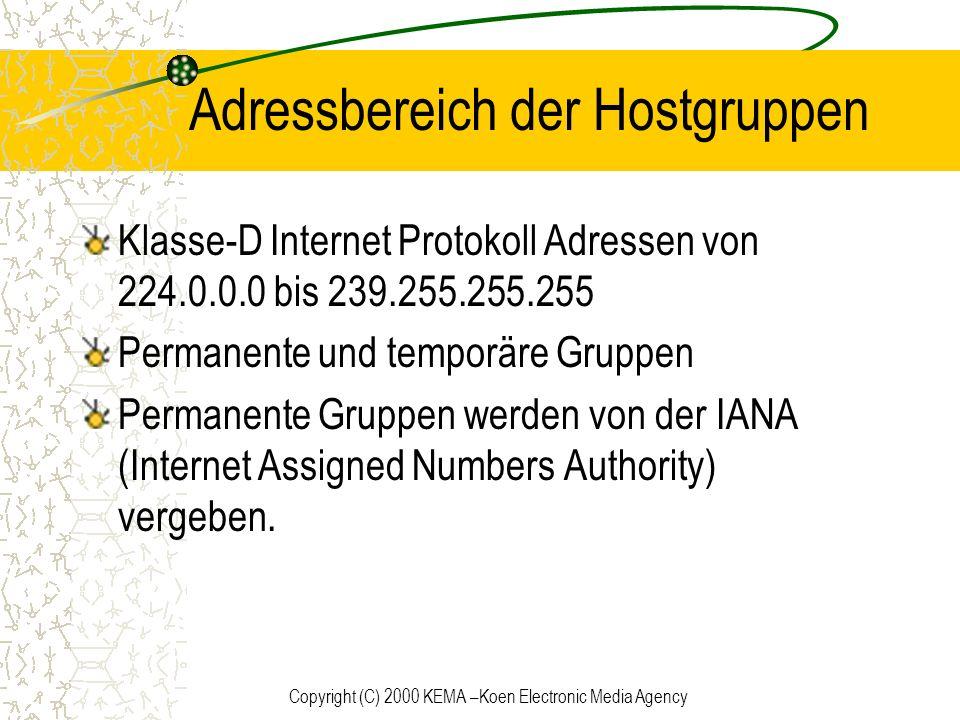 Copyright (C) 2000 KEMA –Koen Electronic Media Agency Adressbereich der Hostgruppen Klasse-D Internet Protokoll Adressen von 224.0.0.0 bis 239.255.255