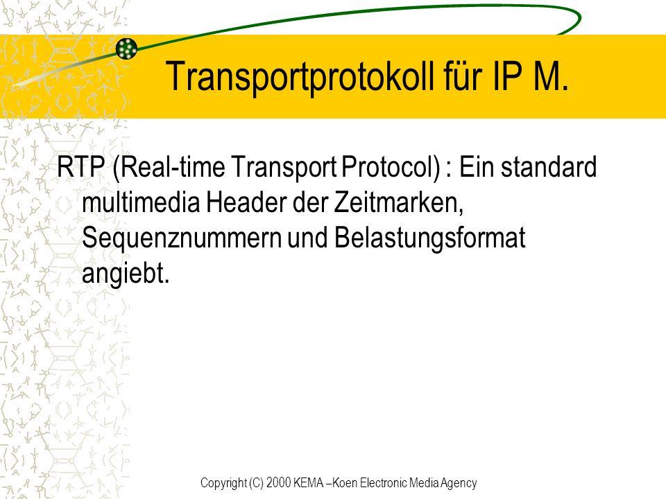 Copyright (C) 2000 KEMA –Koen Electronic Media Agency Transportprotokoll für IP M. RTP (Real-time Transport Protocol) : Ein standard multimedia Header