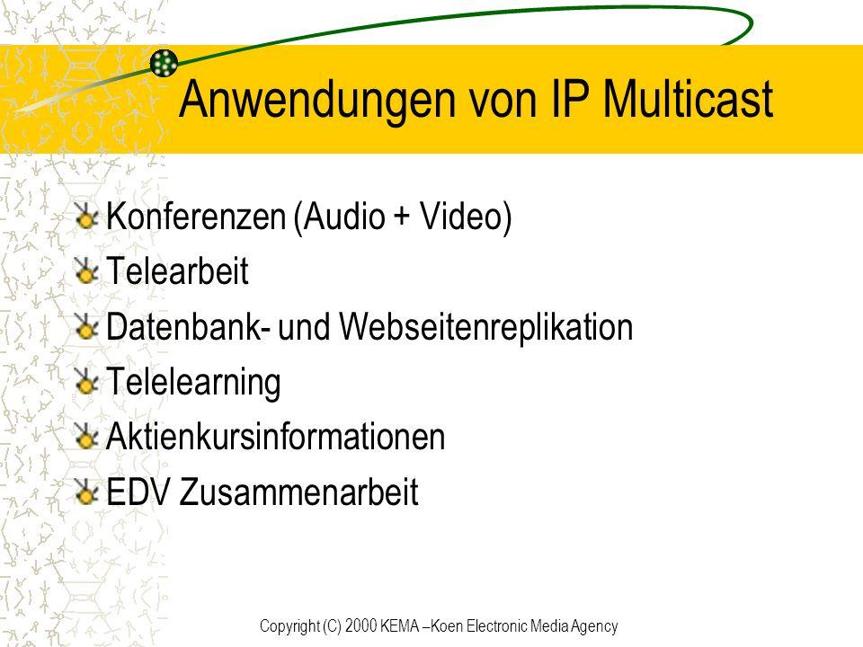 Copyright (C) 2000 KEMA –Koen Electronic Media Agency Anwendungen von IP Multicast Konferenzen (Audio + Video) Telearbeit Datenbank- und Webseitenrepl