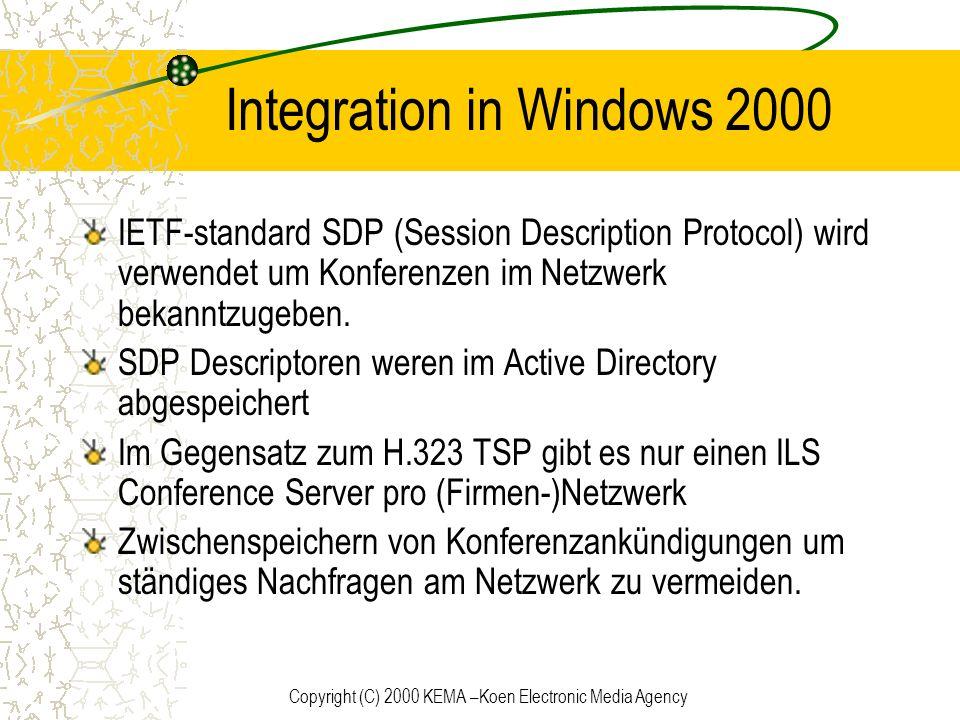 Copyright (C) 2000 KEMA –Koen Electronic Media Agency Integration in Windows 2000 IETF-standard SDP (Session Description Protocol) wird verwendet um K
