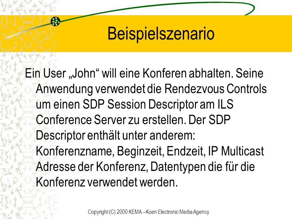 Copyright (C) 2000 KEMA –Koen Electronic Media Agency Beispielszenario Ein User John will eine Konferen abhalten. Seine Anwendung verwendet die Rendez