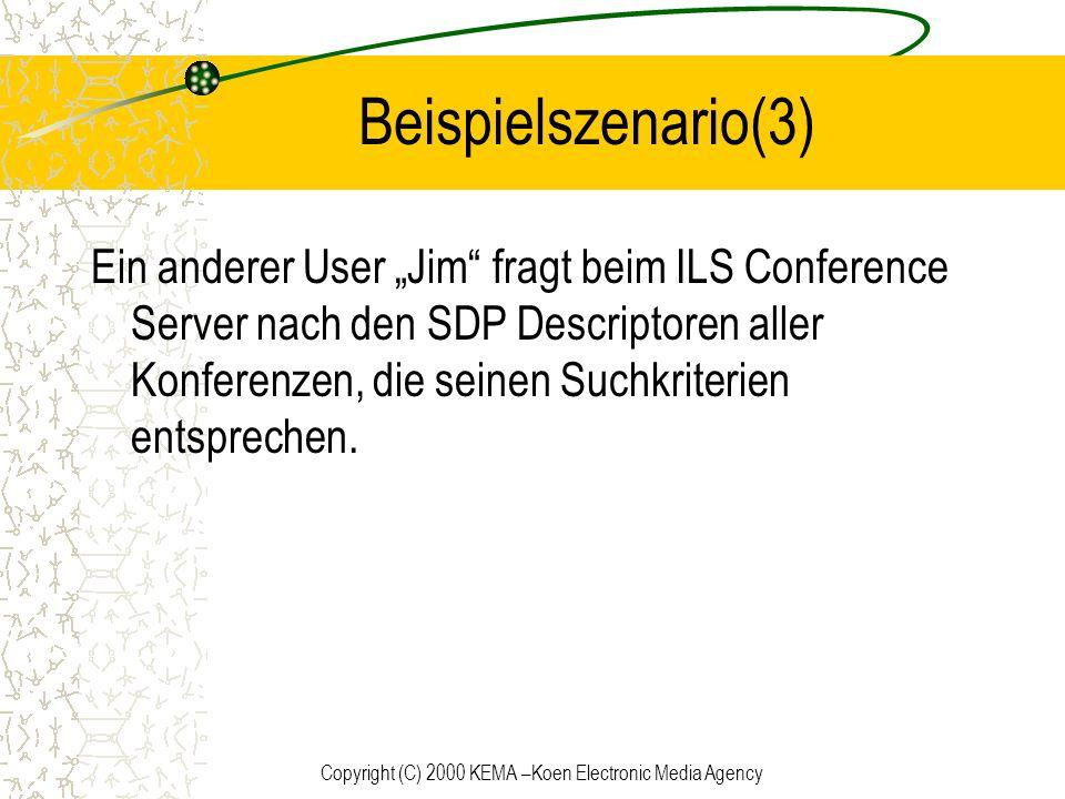 Copyright (C) 2000 KEMA –Koen Electronic Media Agency Beispielszenario(3) Ein anderer User Jim fragt beim ILS Conference Server nach den SDP Descripto