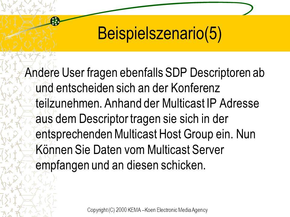 Copyright (C) 2000 KEMA –Koen Electronic Media Agency Beispielszenario(5) Andere User fragen ebenfalls SDP Descriptoren ab und entscheiden sich an der