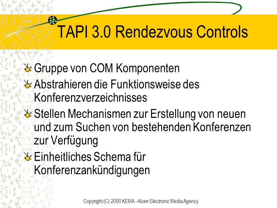 Copyright (C) 2000 KEMA –Koen Electronic Media Agency TAPI 3.0 Rendezvous Controls Gruppe von COM Komponenten Abstrahieren die Funktionsweise des Konf