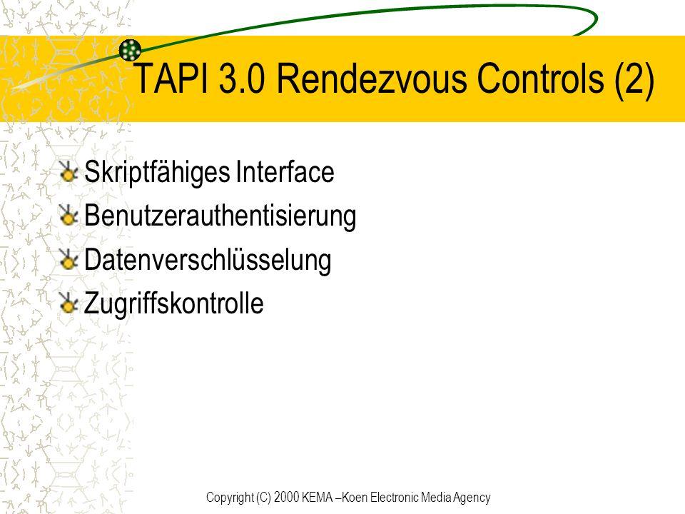 Copyright (C) 2000 KEMA –Koen Electronic Media Agency TAPI 3.0 Rendezvous Controls (2) Skriptfähiges Interface Benutzerauthentisierung Datenverschlüss