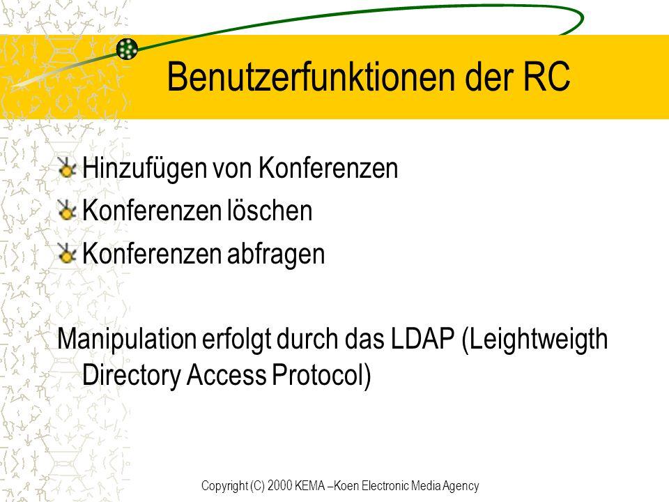 Copyright (C) 2000 KEMA –Koen Electronic Media Agency Benutzerfunktionen der RC Hinzufügen von Konferenzen Konferenzen löschen Konferenzen abfragen Ma