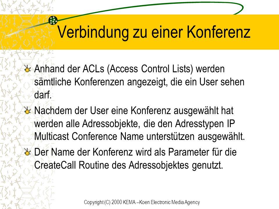 Copyright (C) 2000 KEMA –Koen Electronic Media Agency Verbindung zu einer Konferenz Anhand der ACLs (Access Control Lists) werden sämtliche Konferenze