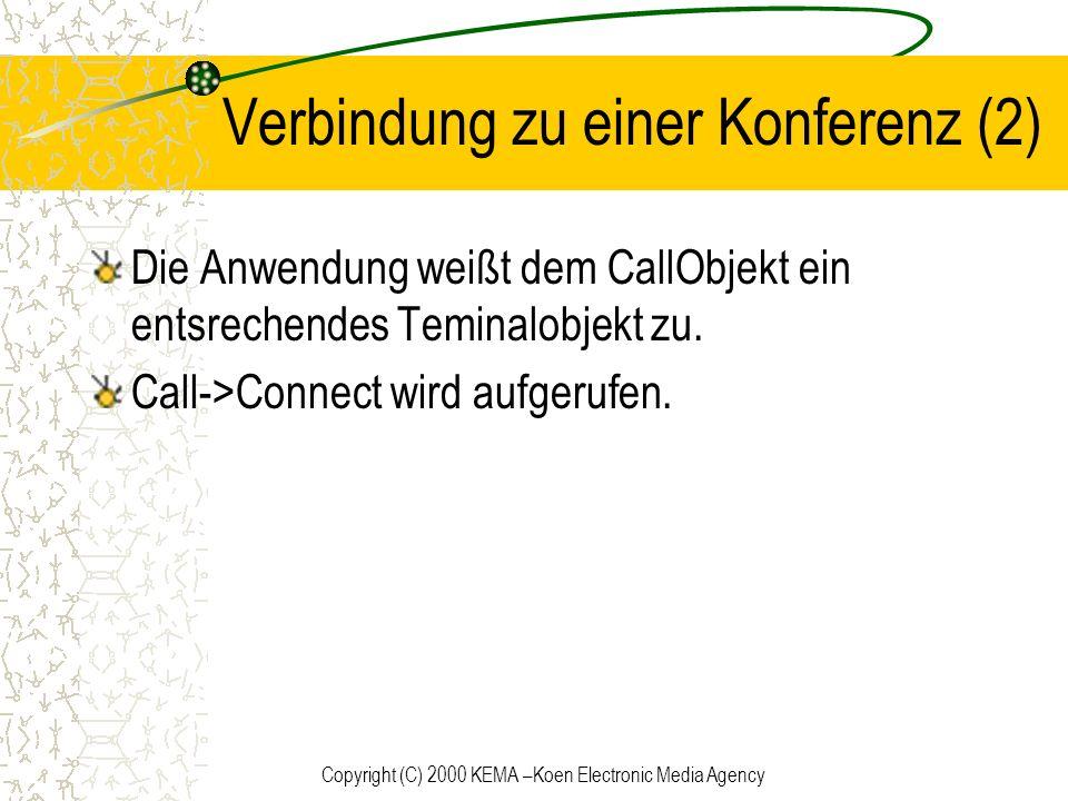 Copyright (C) 2000 KEMA –Koen Electronic Media Agency Verbindung zu einer Konferenz (2) Die Anwendung weißt dem CallObjekt ein entsrechendes Teminalob