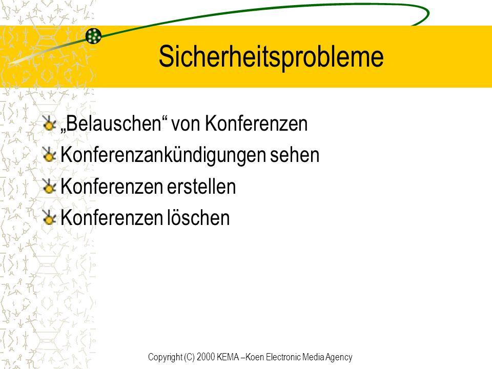 Copyright (C) 2000 KEMA –Koen Electronic Media Agency Sicherheitsprobleme Belauschen von Konferenzen Konferenzankündigungen sehen Konferenzen erstelle