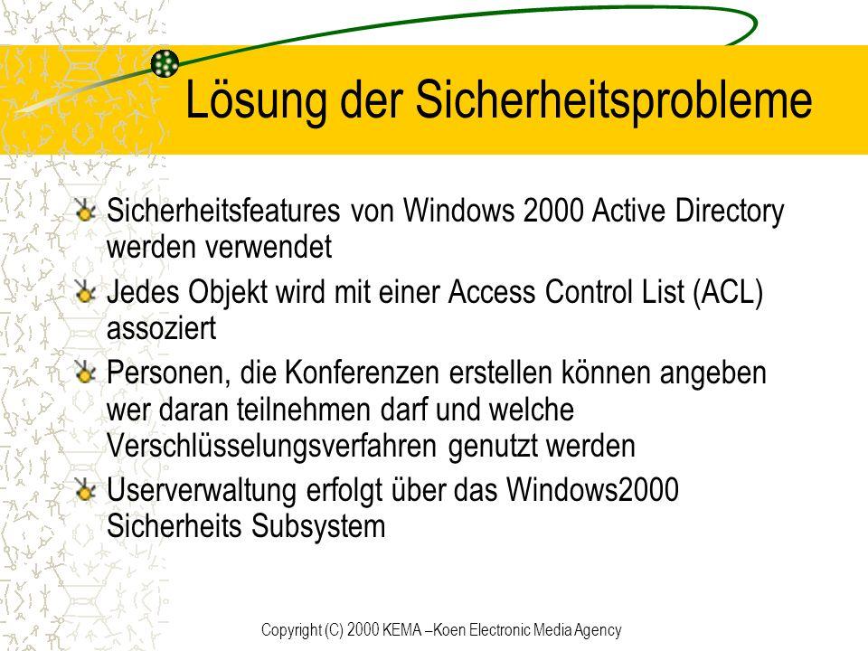 Copyright (C) 2000 KEMA –Koen Electronic Media Agency Lösung der Sicherheitsprobleme Sicherheitsfeatures von Windows 2000 Active Directory werden verw
