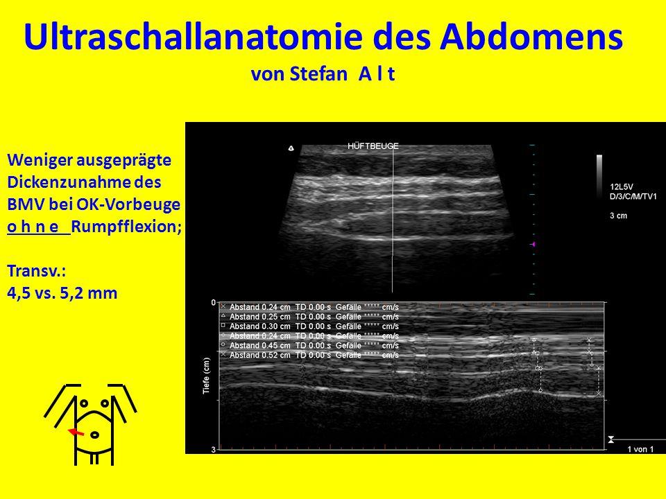 Ultraschallanatomie des Abdomens von Stefan A l t Weniger ausgeprägte Dickenzunahme des BMV bei OK-Vorbeuge o h n e Rumpfflexion; Transv.: 4,5 vs. 5,2