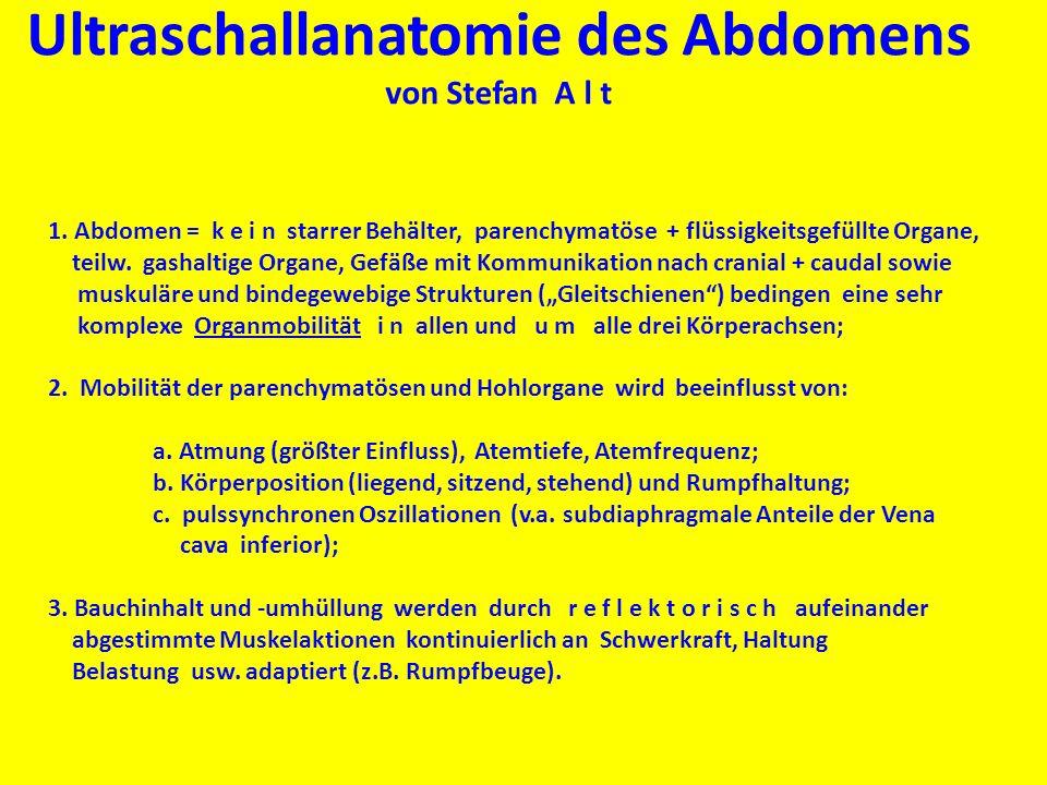 Ultraschallanatomie des Abdomens von Stefan A l t 1. Abdomen = k e i n starrer Behälter, parenchymatöse + flüssigkeitsgefüllte Organe, teilw. gashalti