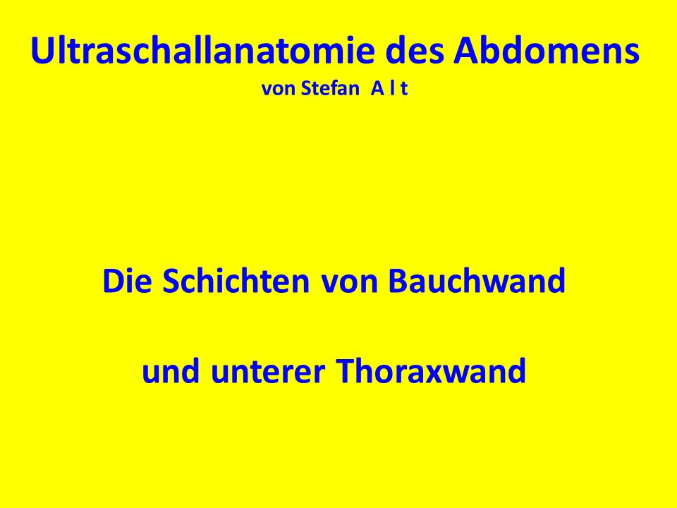 Die Schichten von Bauchwand und unterer Thoraxwand Ultraschallanatomie des Abdomens von Stefan A l t