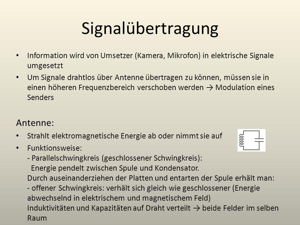 Signalübertragung Information wird von Umsetzer (Kamera, Mikrofon) in elektrische Signale umgesetzt Um Signale drahtlos über Antenne übertragen zu kön