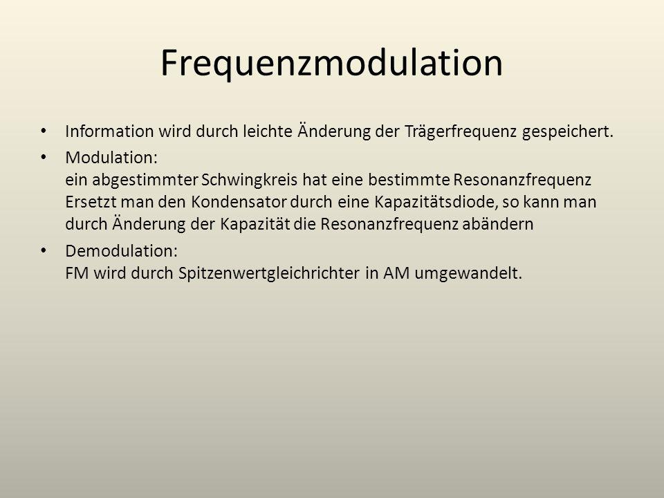 Frequenzmodulation Information wird durch leichte Änderung der Trägerfrequenz gespeichert. Modulation: ein abgestimmter Schwingkreis hat eine bestimmt