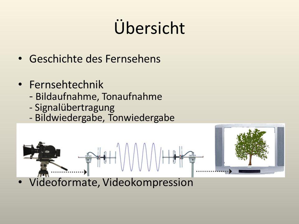 Übersicht Geschichte des Fernsehens Fernsehtechnik - Bildaufnahme, Tonaufnahme - Signalübertragung - Bildwiedergabe, Tonwiedergabe Videoformate, Video