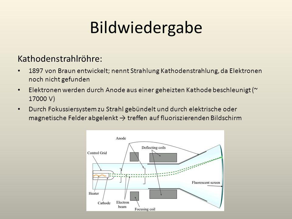 Bildwiedergabe Kathodenstrahlröhre: 1897 von Braun entwickelt; nennt Strahlung Kathodenstrahlung, da Elektronen noch nicht gefunden Elektronen werden