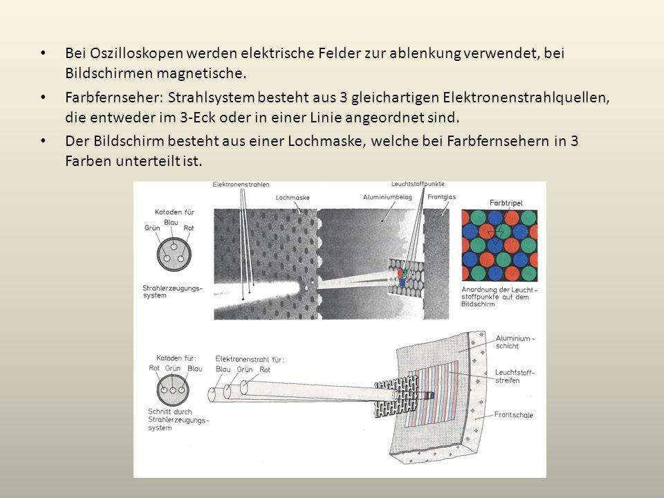 Bei Oszilloskopen werden elektrische Felder zur ablenkung verwendet, bei Bildschirmen magnetische. Farbfernseher: Strahlsystem besteht aus 3 gleichart