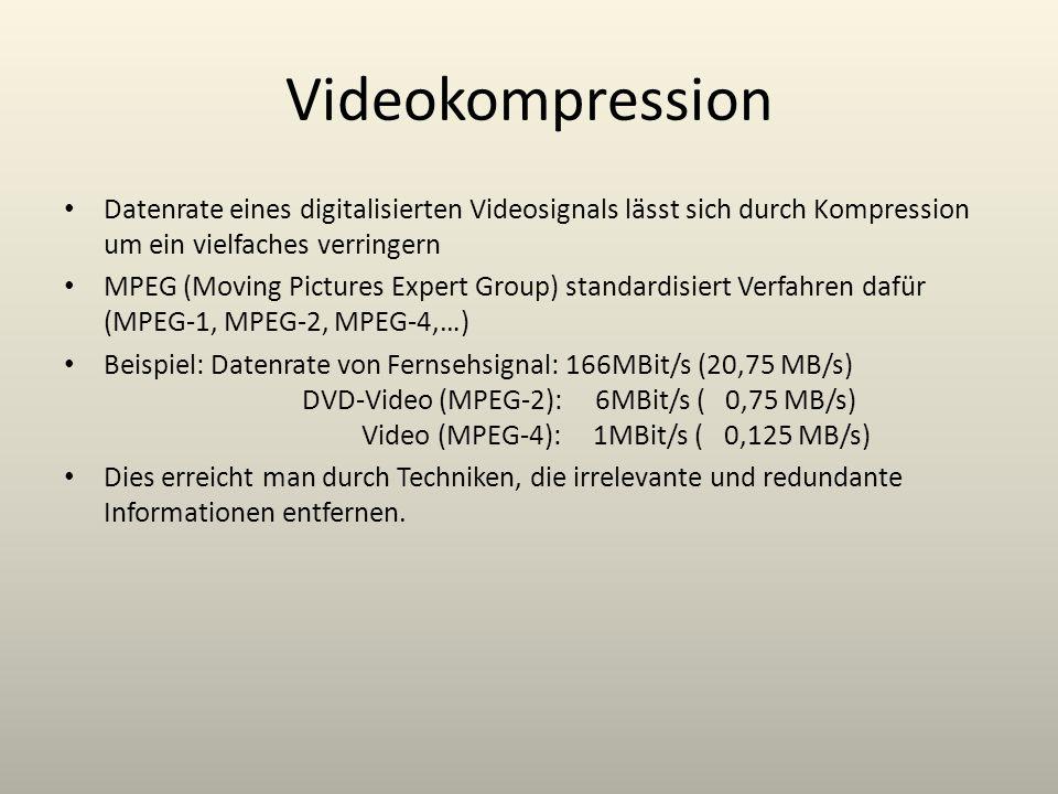 Videokompression Datenrate eines digitalisierten Videosignals lässt sich durch Kompression um ein vielfaches verringern MPEG (Moving Pictures Expert G