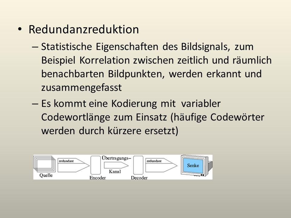 Redundanzreduktion – Statistische Eigenschaften des Bildsignals, zum Beispiel Korrelation zwischen zeitlich und räumlich benachbarten Bildpunkten, wer