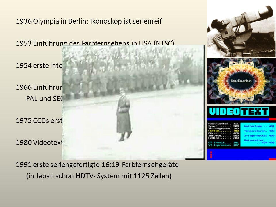 1936 Olympia in Berlin: Ikonoskop ist serienreif 1953 Einführung des Farbfernsehens in USA (NTSC) 1954 erste internationale Fernseh-Direktübertragung
