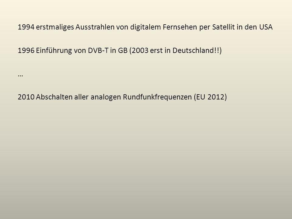 1994 erstmaliges Ausstrahlen von digitalem Fernsehen per Satellit in den USA 1996 Einführung von DVB-T in GB (2003 erst in Deutschland!!) … 2010 Absch