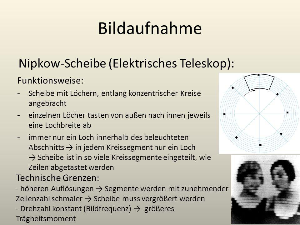 Bildaufnahme Nipkow-Scheibe (Elektrisches Teleskop): Funktionsweise: - Scheibe mit Löchern, entlang konzentrischer Kreise angebracht - einzelnen Löche