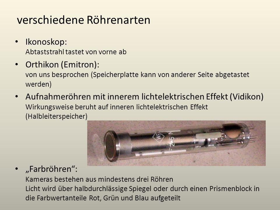 verschiedene Röhrenarten Ikonoskop: Abtaststrahl tastet von vorne ab Orthikon (Emitron): von uns besprochen (Speicherplatte kann von anderer Seite abg