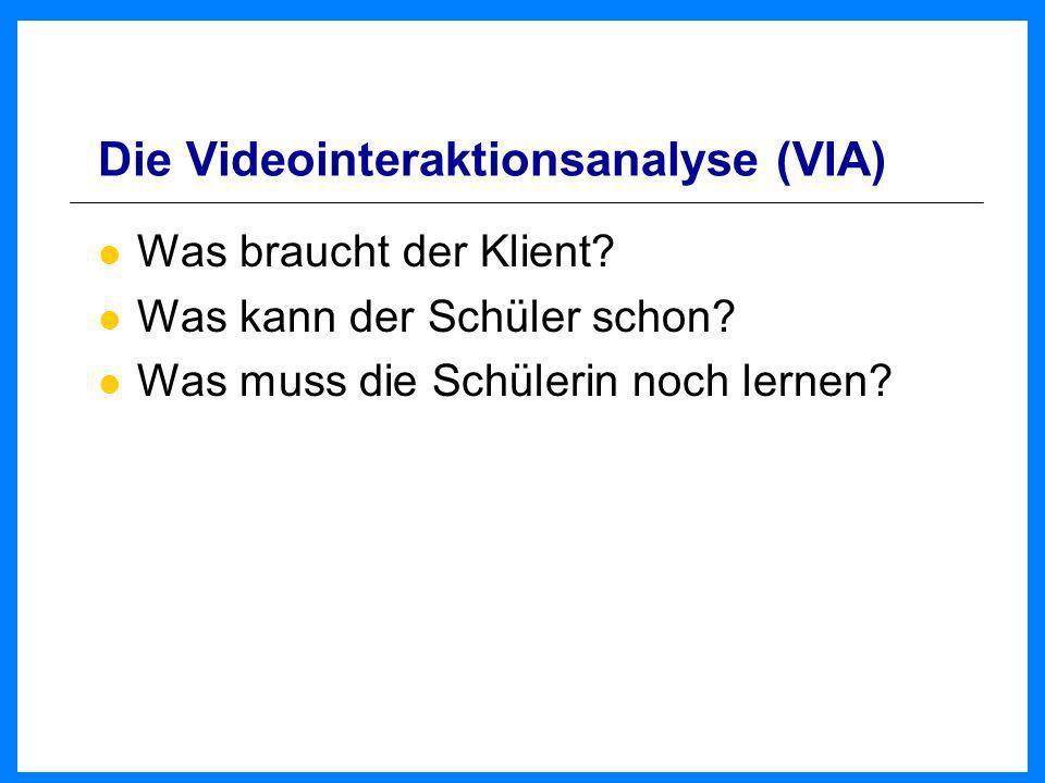 Die Videointeraktionsanalyse (VIA) Was braucht der Klient? Was kann der Schüler schon? Was muss die Schülerin noch lernen?