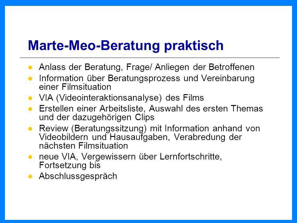 Marte-Meo-Beratung praktisch Anlass der Beratung, Frage/ Anliegen der Betroffenen Information über Beratungsprozess und Vereinbarung einer Filmsituati