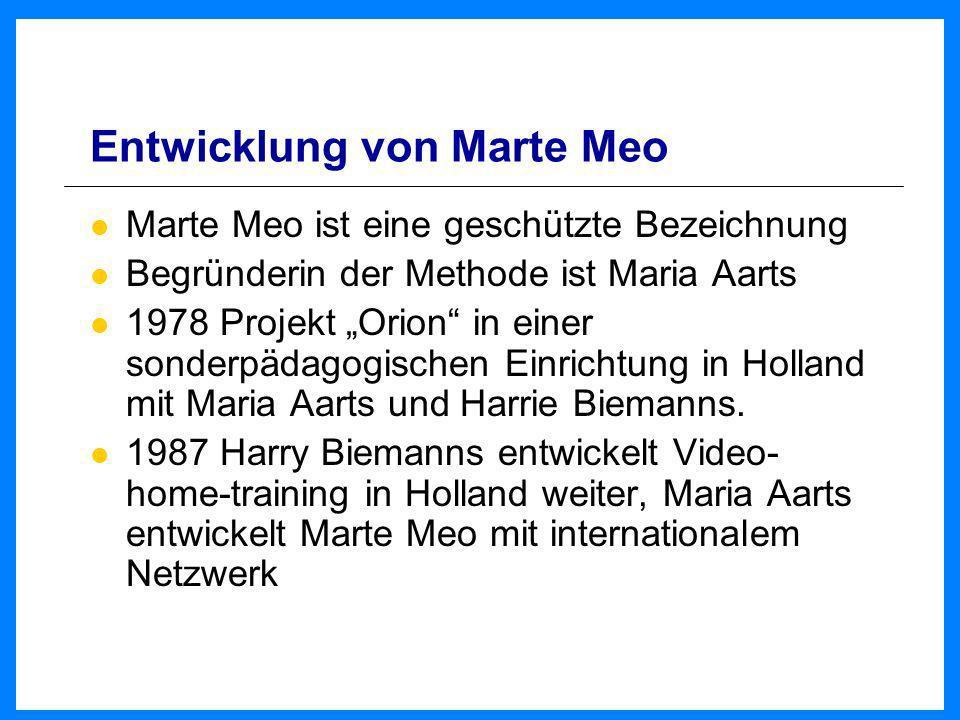 Marte Meo aus eigener Kraft Unterstützung von Menschen, die für eine andere Person verantwortlich sind, diese unterstützen, versorgen oder schützen sollen Videoaufnahmen von guten Momenten werden verknüpft mit Informationen, warum es gut wurde und führen so zu einer Verbesserung der Situation