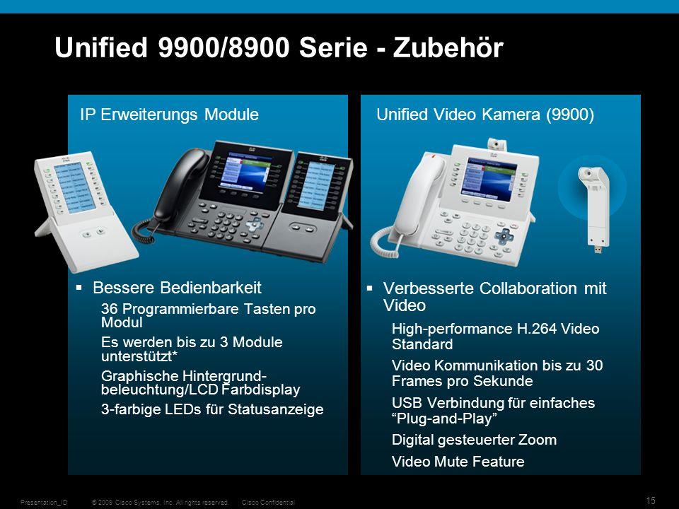 © 2009 Cisco Systems, Inc. All rights reserved.Cisco ConfidentialPresentation_ID 15 Unified 9900/8900 Serie - Zubehör Verbesserte Collaboration mit Vi