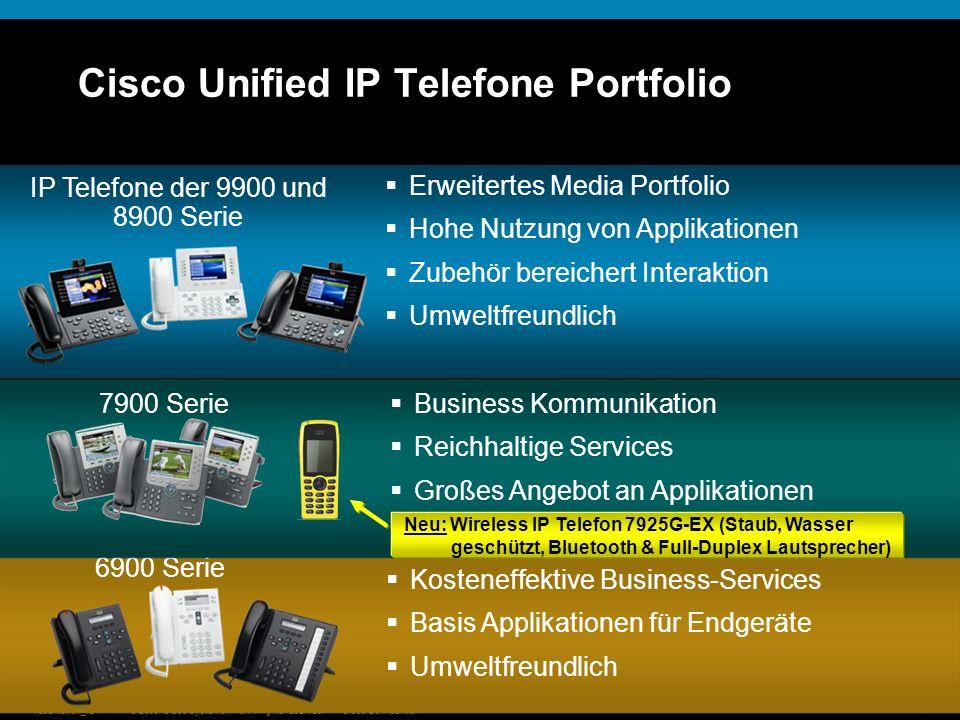 © 2009 Cisco Systems, Inc. All rights reserved.Cisco ConfidentialPresentation_ID 16 Cisco Unified IP Telefone Portfolio 6900 Serie Kosteneffektive Bus