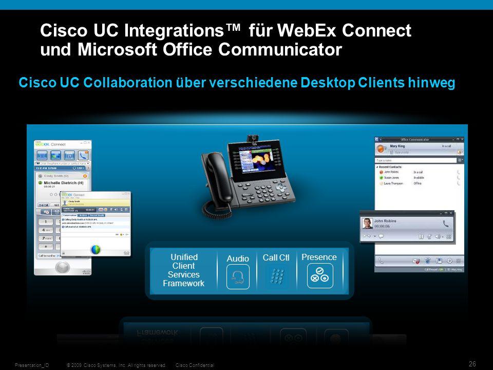 © 2009 Cisco Systems, Inc. All rights reserved.Cisco ConfidentialPresentation_ID 26 Cisco UC Integrations für WebEx Connect und Microsoft Office Commu