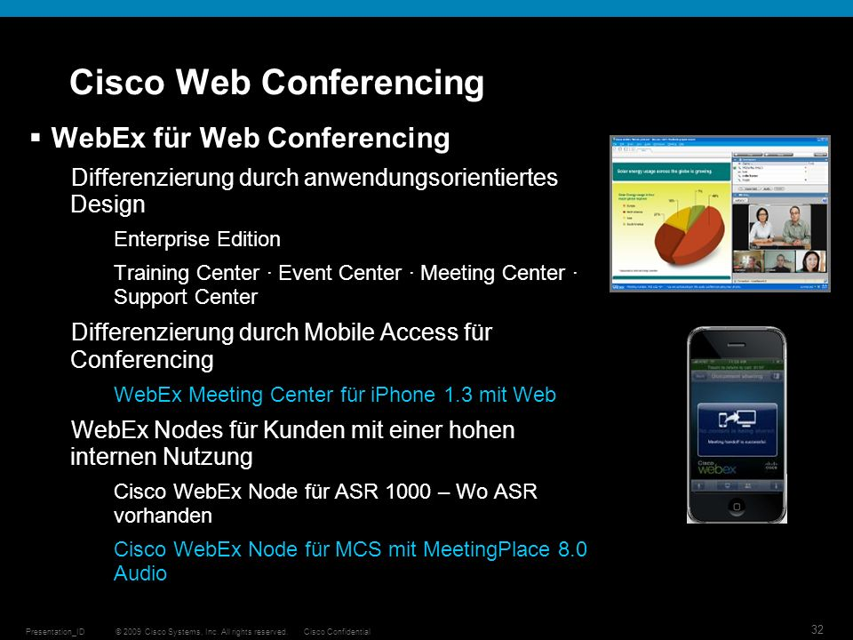 © 2009 Cisco Systems, Inc. All rights reserved.Cisco ConfidentialPresentation_ID 32 Cisco Web Conferencing WebEx für Web Conferencing Differenzierung
