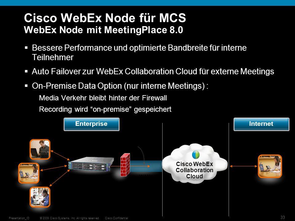 © 2009 Cisco Systems, Inc. All rights reserved.Cisco ConfidentialPresentation_ID 33 Cisco WebEx Node für MCS WebEx Node mit MeetingPlace 8.0 Bessere P