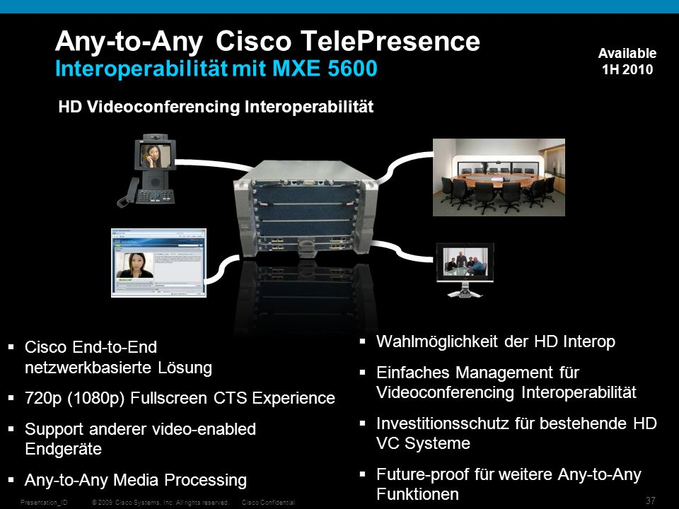 © 2009 Cisco Systems, Inc. All rights reserved.Cisco ConfidentialPresentation_ID 37 Any-to-Any Cisco TelePresence Interoperabilität mit MXE 5600 HD Vi