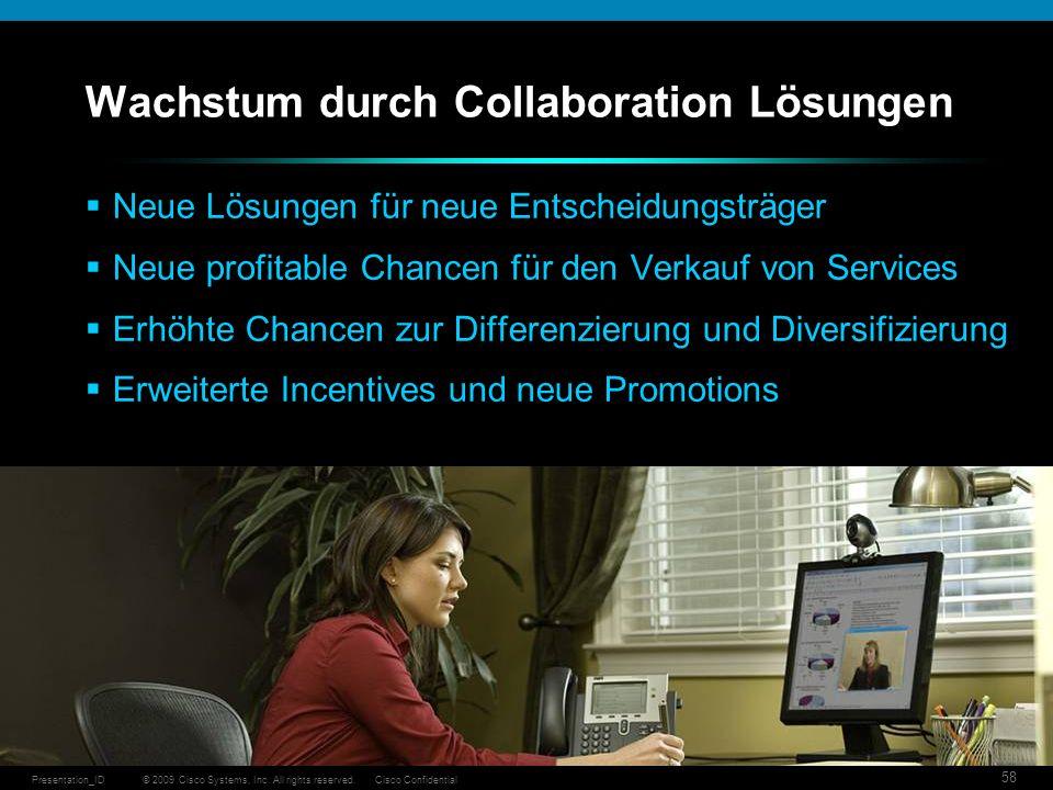 © 2009 Cisco Systems, Inc. All rights reserved.Cisco ConfidentialPresentation_ID 58 Wachstum durch Collaboration Lösungen Neue Lösungen für neue Entsc