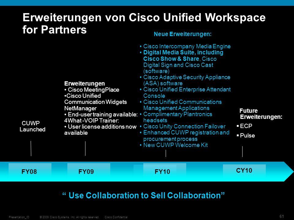 © 2009 Cisco Systems, Inc. All rights reserved.Cisco ConfidentialPresentation_ID 61 FY08FY09 Erweiterungen Cisco MeetingPlace Cisco Unified Communicat