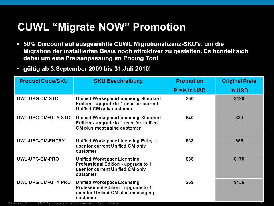 © 2009 Cisco Systems, Inc. All rights reserved.Cisco ConfidentialPresentation_ID 62 50% Discount auf ausgewählte CUWL Migrationslizenz-SKUs, um die Mi