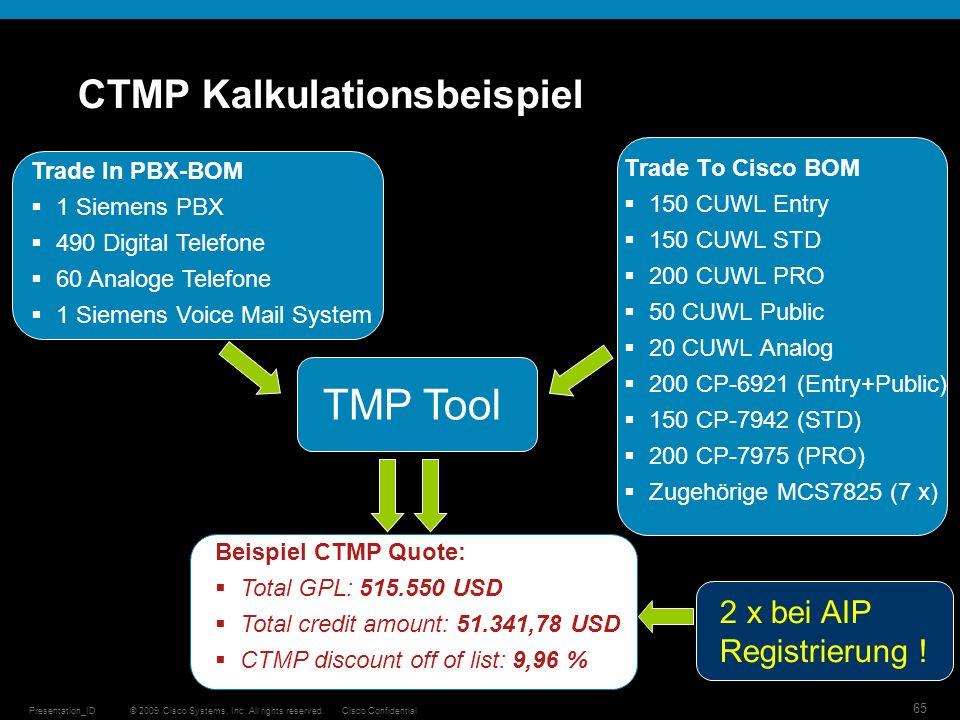 © 2009 Cisco Systems, Inc. All rights reserved.Cisco ConfidentialPresentation_ID 65 CTMP Kalkulationsbeispiel Trade To Cisco BOM 150 CUWL Entry 150 CU