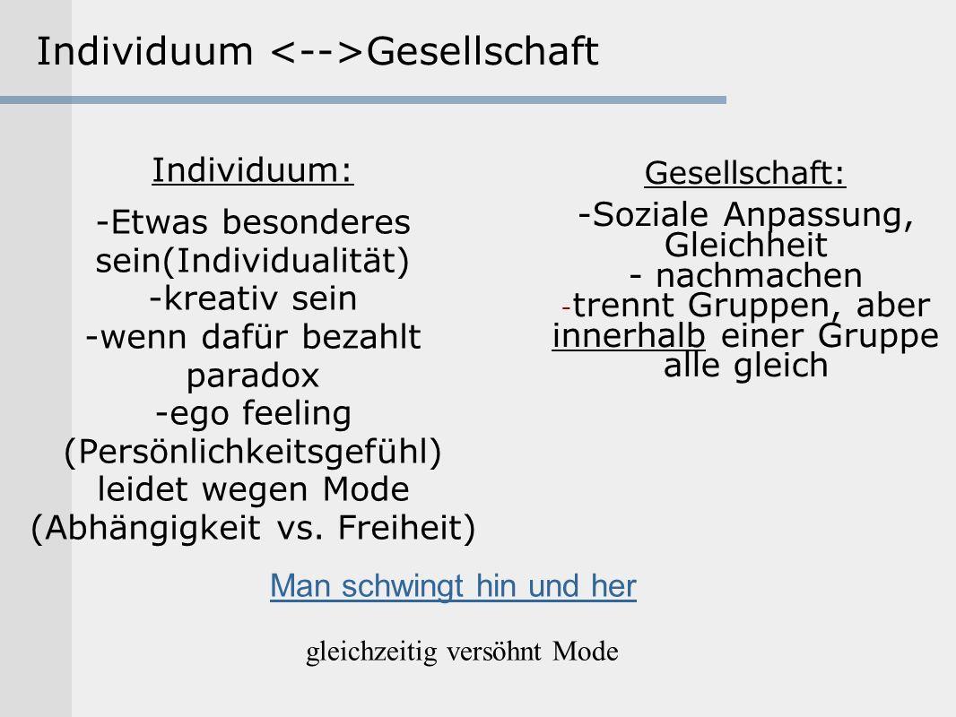 Individuum Gesellschaft Individuum: -Etwas besonderes sein(Individualität) -kreativ sein -wenn dafür bezahlt paradox -ego feeling (Persönlichkeitsgefü