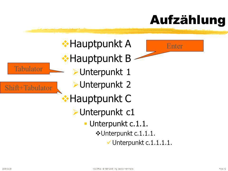2005-04-25MS Office - © 1997-2005 Ing. Gerold Hämmerle Folie 11 Texteingabe Bei Platzhaltern (z.B.: Überschrift): Neuer Absatz mit ENTER Zeilenumbruch