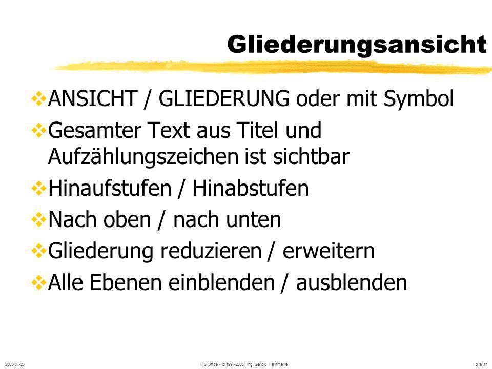 2005-04-25MS Office - © 1997-2005 Ing. Gerold Hämmerle Folie 13 Text & Aufzählungen Neue Folie mit Aufzählung Kennzeichen der Aufzählung: Text ist lin